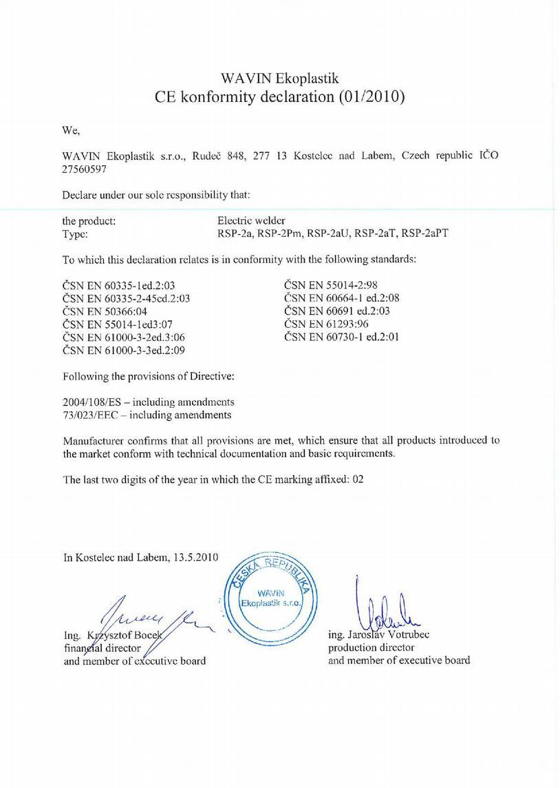 Certificates Wavin Ekoplastik